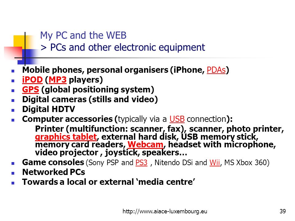 My PC and the WEB > PCs and other electronic equipment