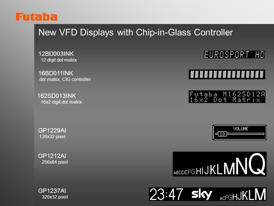 New VFD Displays with Chip-in-Glass Controller