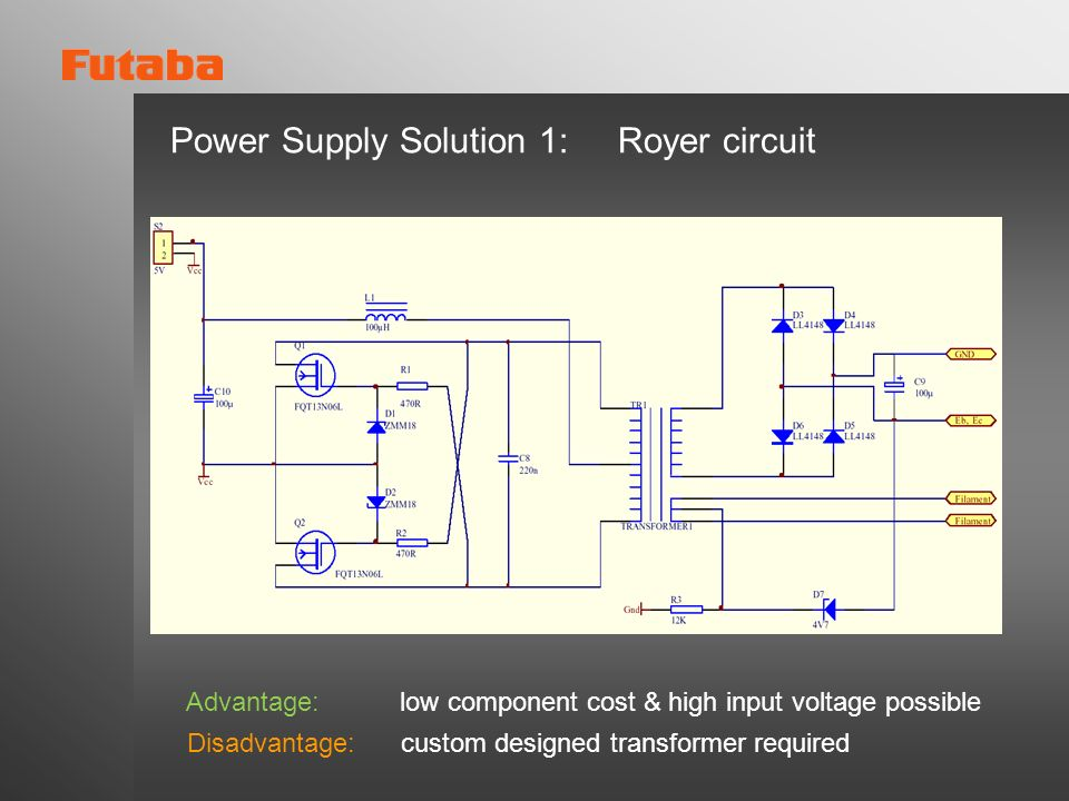 Power Supply Solution 1: Royer circuit