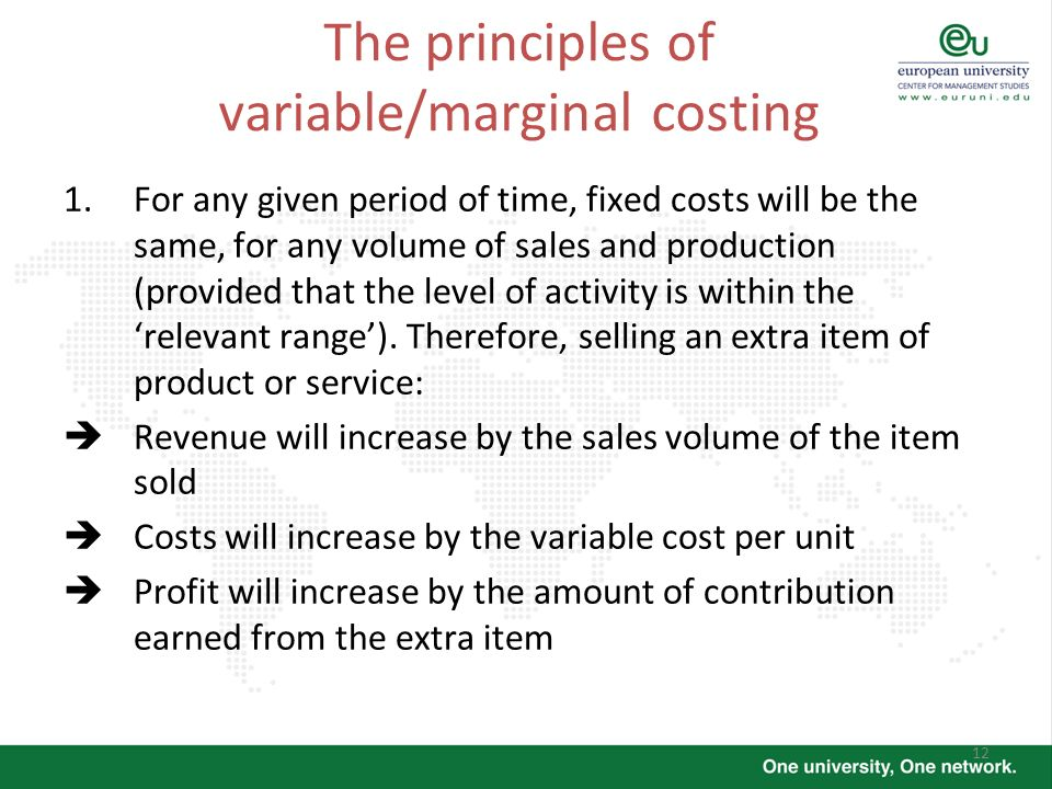 The principles of variable/marginal costing