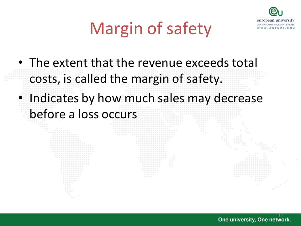 Margin of safety The extent that the revenue exceeds total costs, is called the margin of safety.