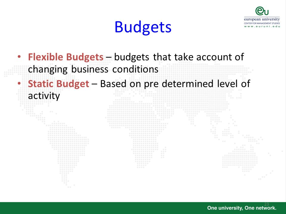 Budgets Flexible Budgets – budgets that take account of changing business conditions.