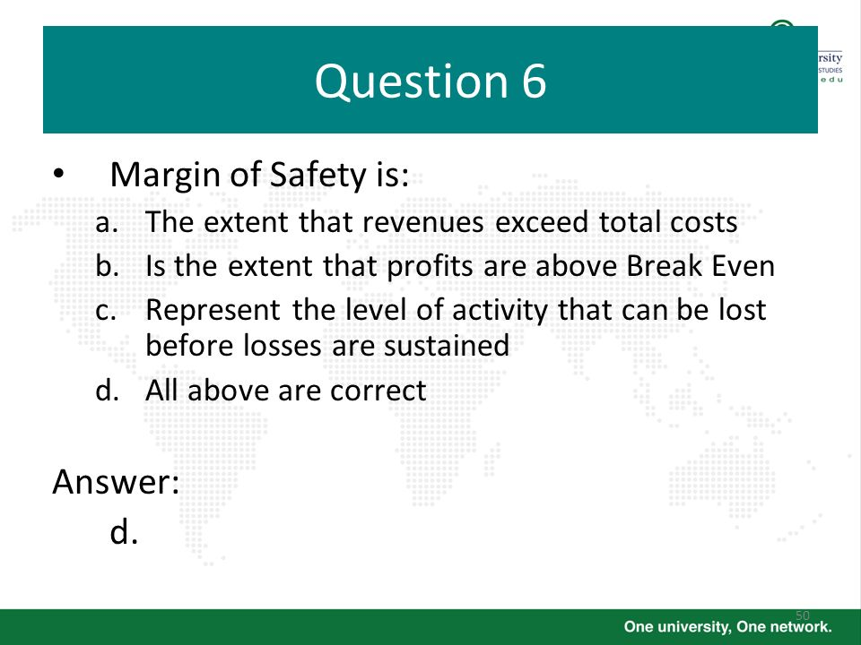 Question 6 Margin of Safety is: Answer: d.