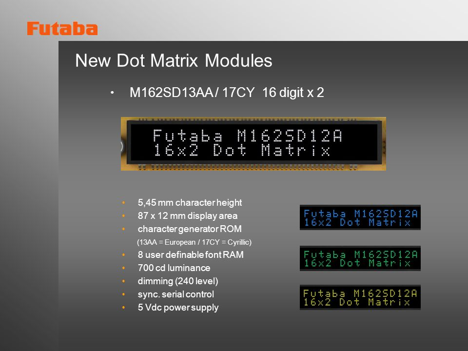 New Dot Matrix Modules ・ M162SD13AA / 17CY 16 digit x 2
