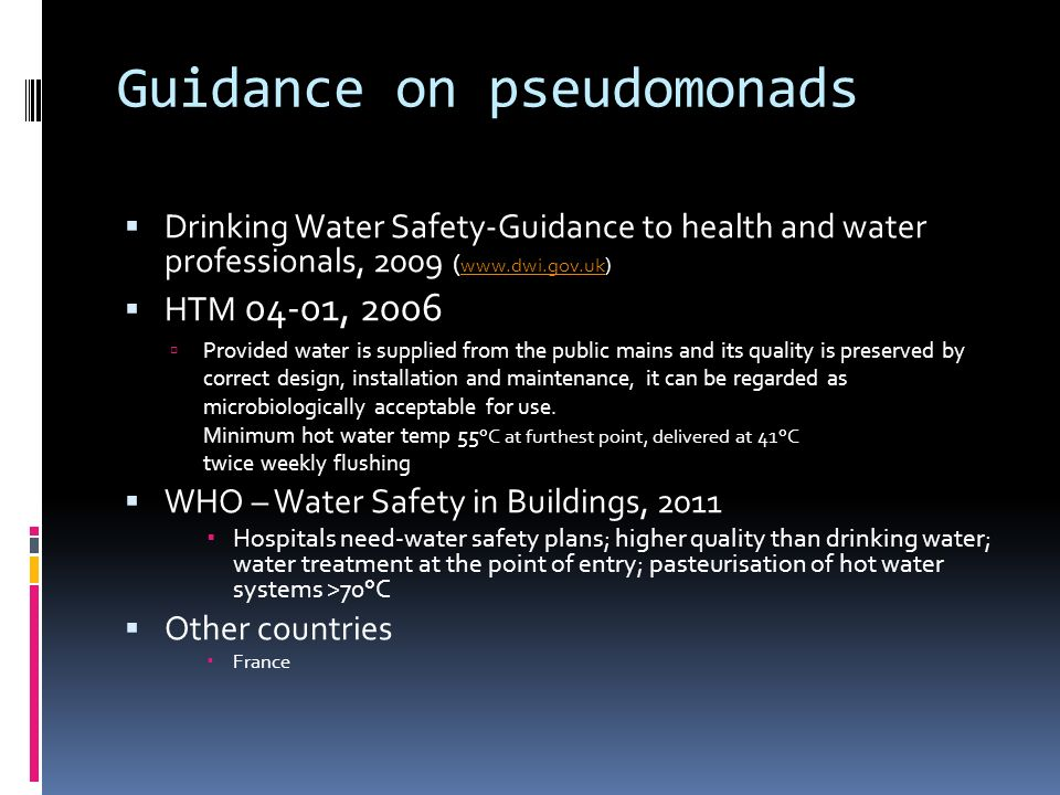 Guidance on pseudomonads