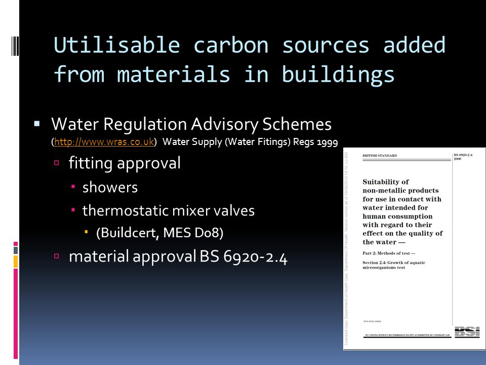 Utilisable carbon sources added from materials in buildings