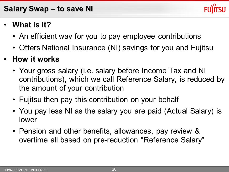Salary Swap – to save NI What is it An efficient way for you to pay employee contributions.