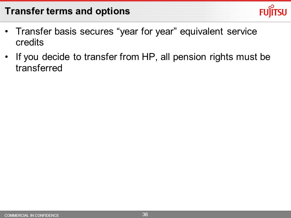 Transfer terms and options