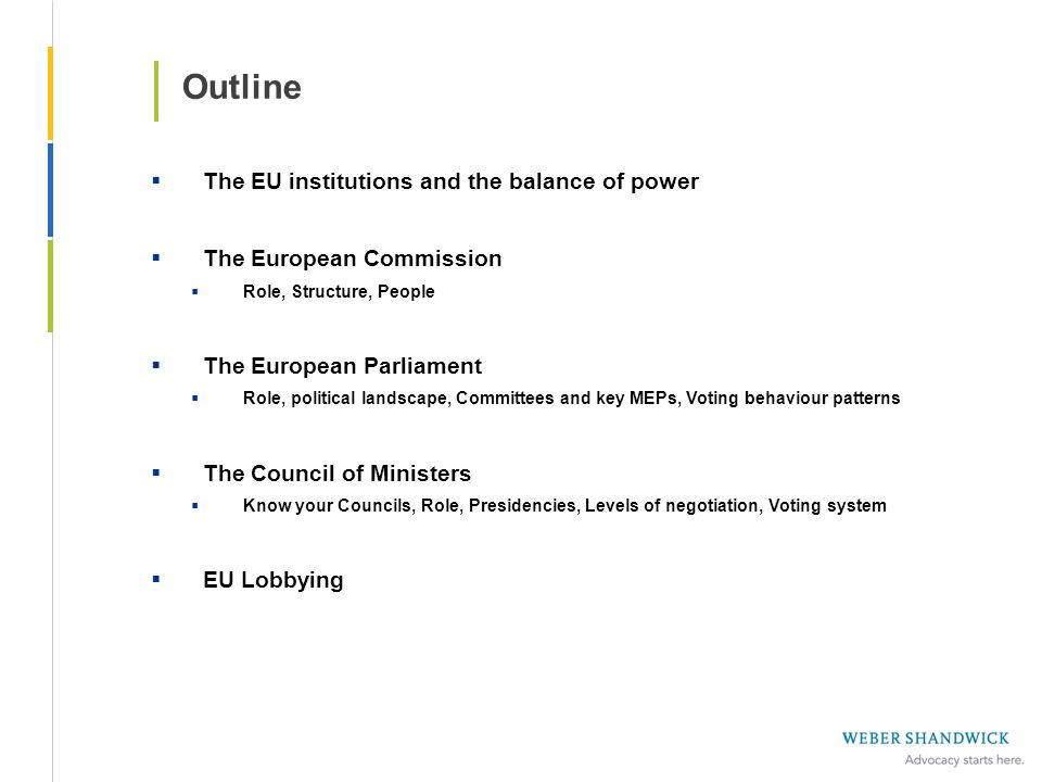 Outline The EU institutions and the balance of power