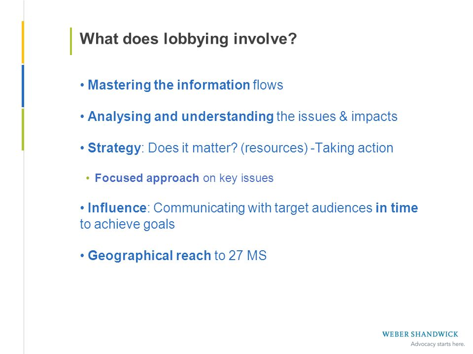 What does lobbying involve