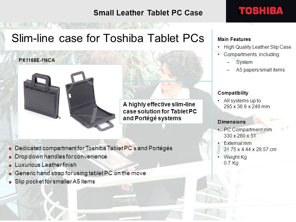 Slim-line case for Toshiba Tablet PCs