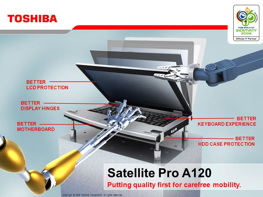 Satellite Pro A120 Putting quality first for carefree mobility.