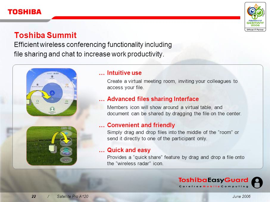 Toshiba Summit Efficient wireless conferencing functionality including file sharing and chat to increase work productivity.