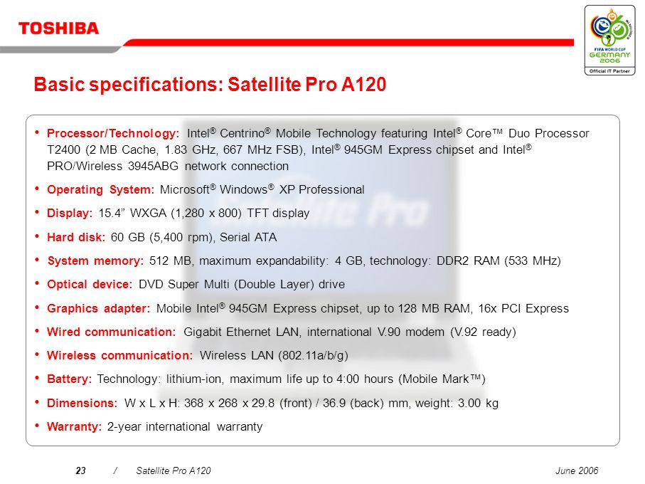Basic specifications: Satellite Pro A120