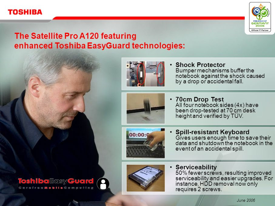 The Satellite Pro A120 featuring enhanced Toshiba EasyGuard technologies: