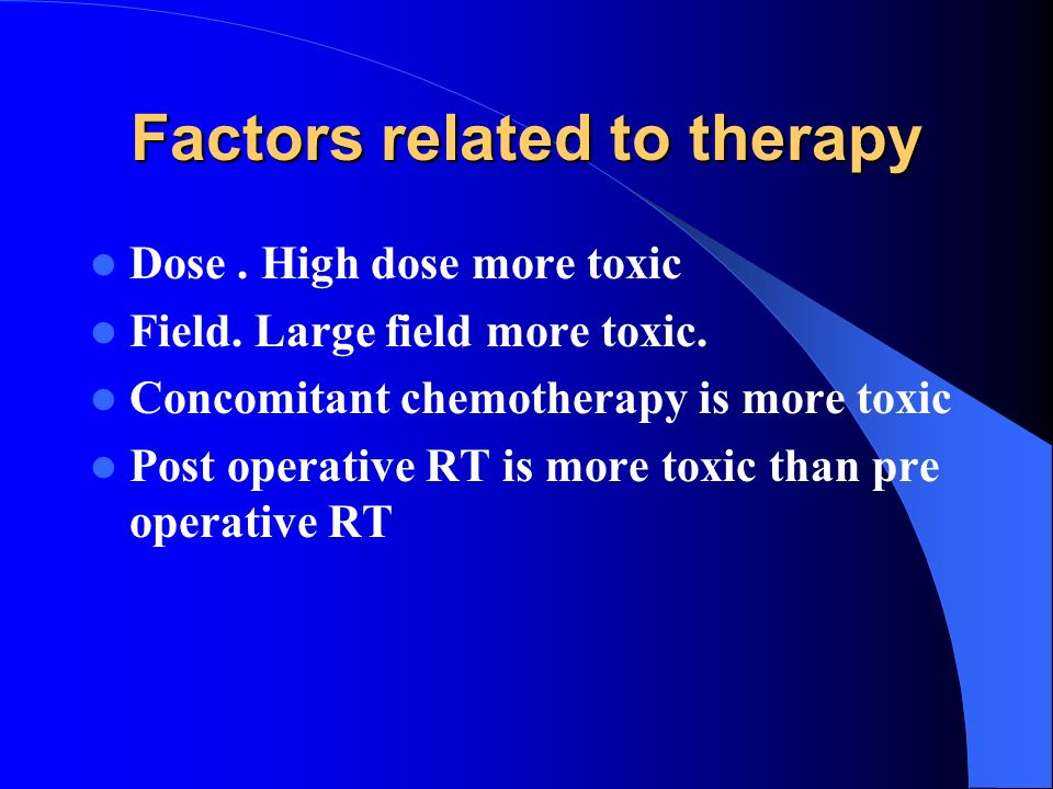 Factors related to therapy