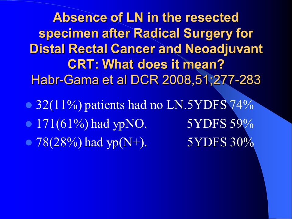 Absence of LN in the resected specimen after Radical Surgery for Distal Rectal Cancer and Neoadjuvant CRT: What does it mean Habr-Gama et al DCR 2008,51;