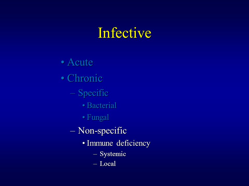 Infective Acute Chronic Specific Non-specific Bacterial Fungal