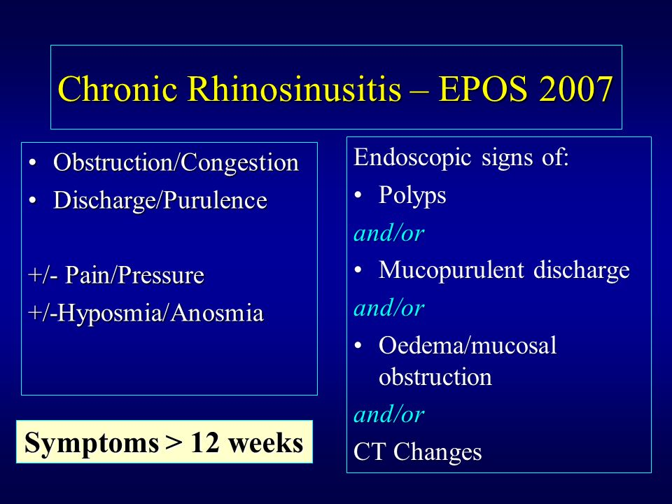 Chronic Rhinosinusitis – EPOS 2007