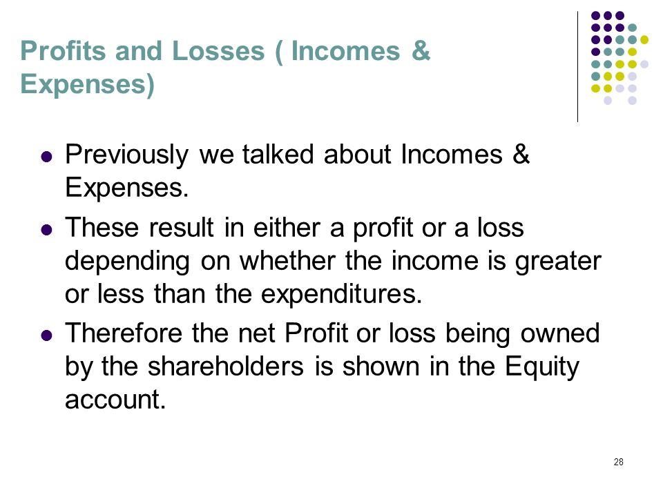 Profits and Losses ( Incomes & Expenses)‏