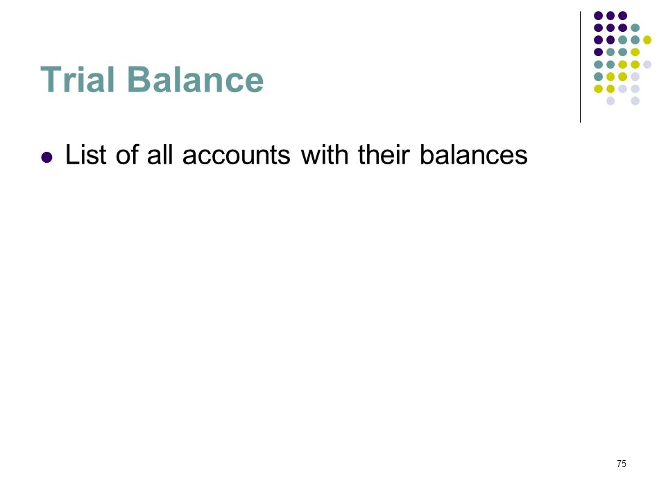 Trial Balance List of all accounts with their balances 75