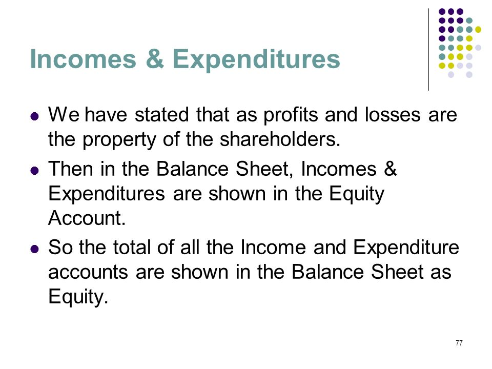 Incomes & Expenditures