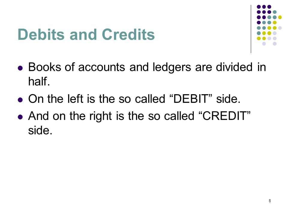 Debits and Credits Books of accounts and ledgers are divided in half.