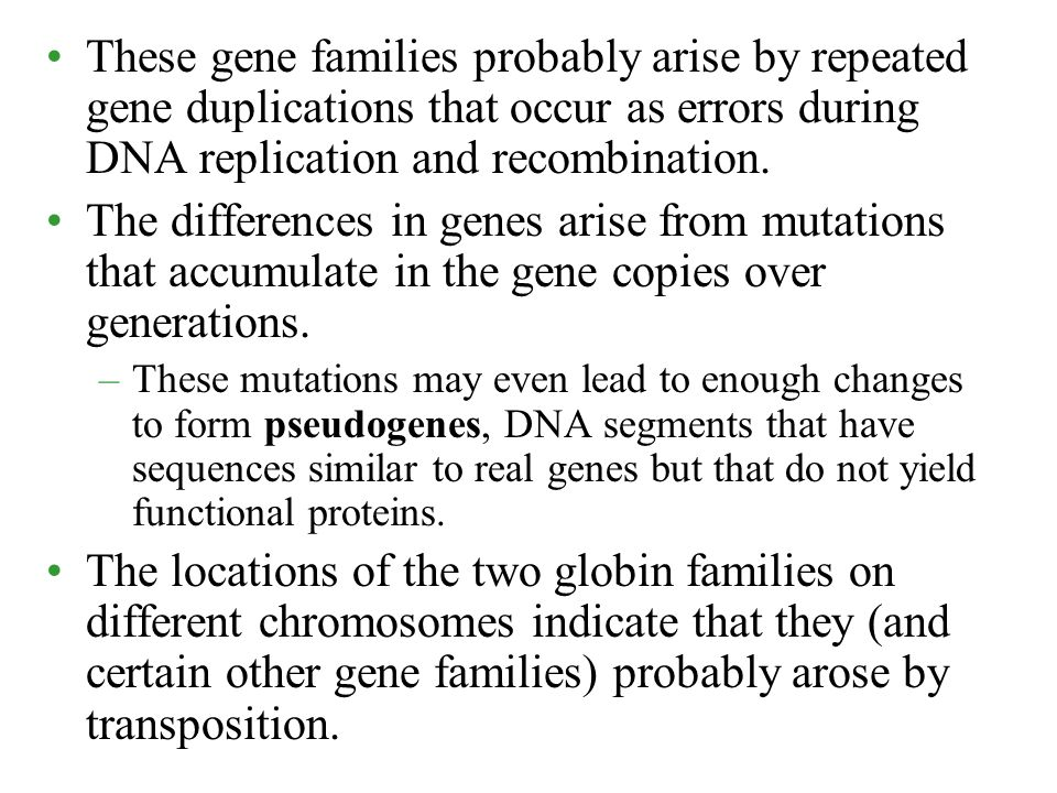 These gene families probably arise by repeated gene duplications that occur as errors during DNA replication and recombination.
