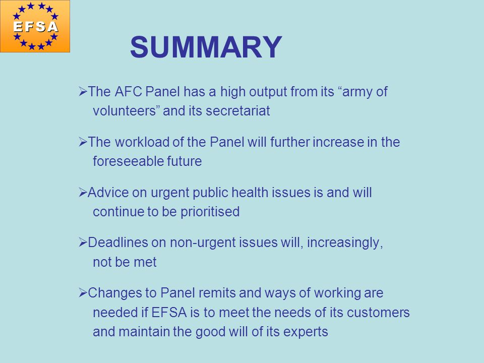 SUMMARY The AFC Panel has a high output from its army of