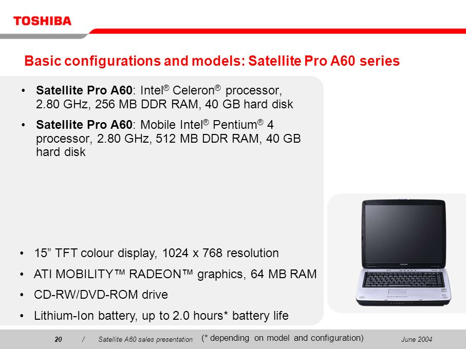Basic configurations and models: Satellite Pro A60 series
