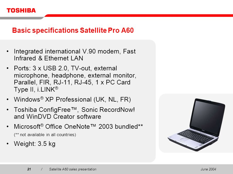 Basic specifications Satellite Pro A60