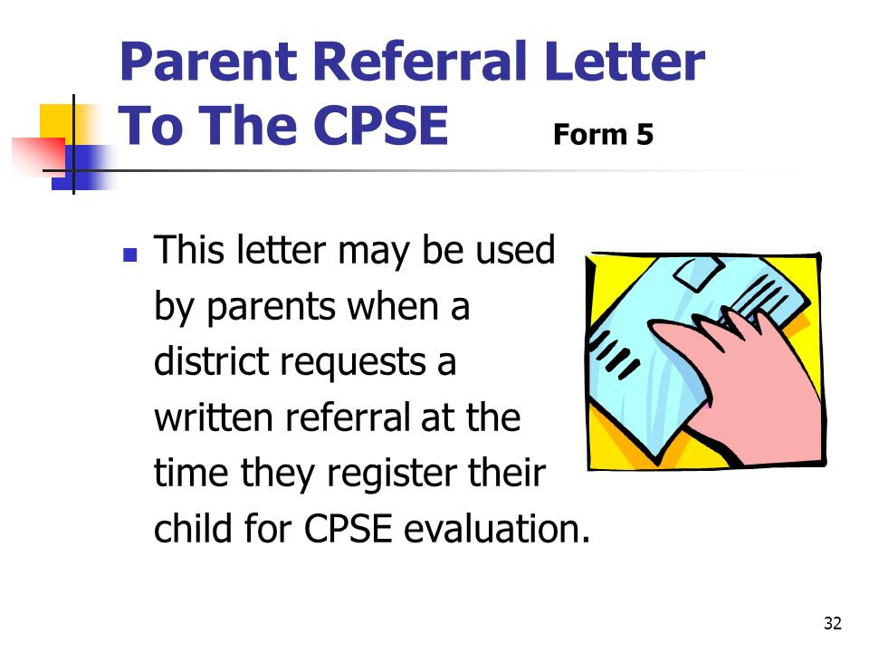 Parent Referral Letter To The CPSE Form 5