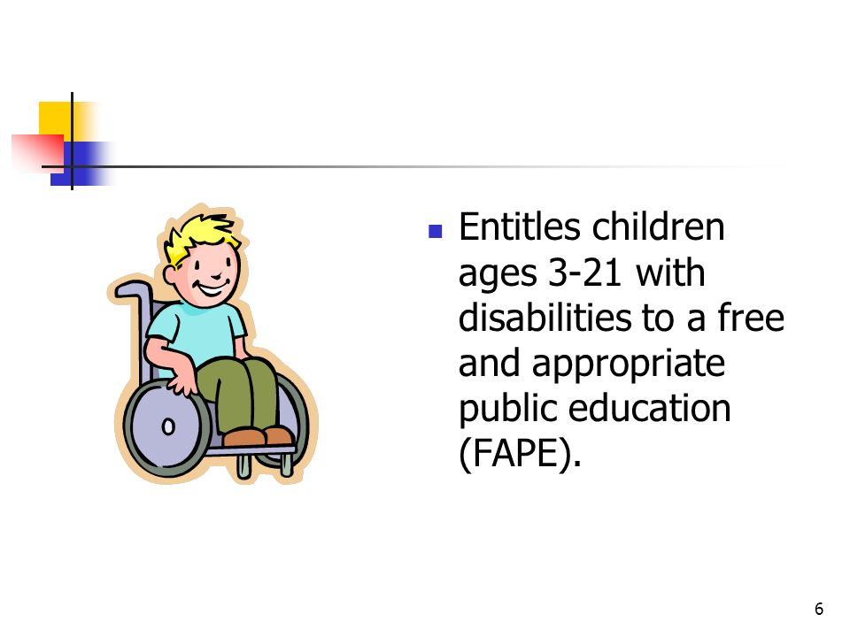 Entitles children ages 3-21 with disabilities to a free and appropriate public education (FAPE).