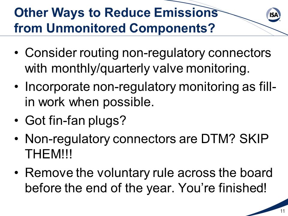 Other Ways to Reduce Emissions from Unmonitored Components