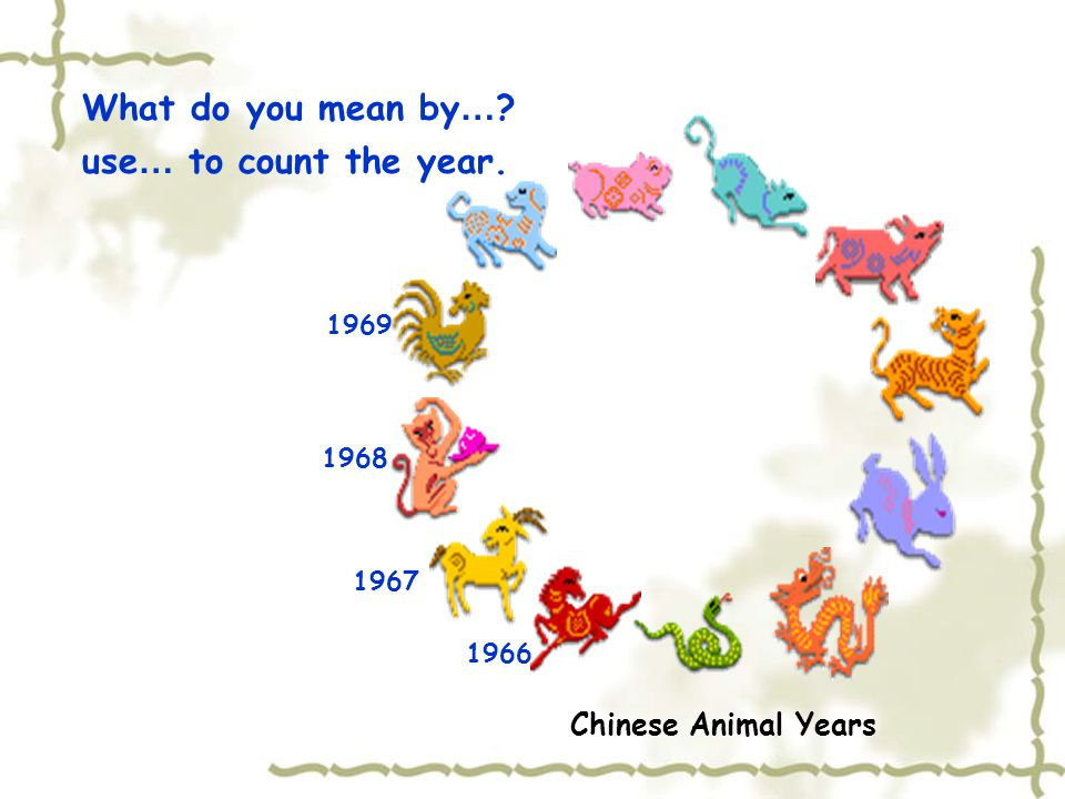 What do you mean by… use… to count the year. Chinese Animal Years