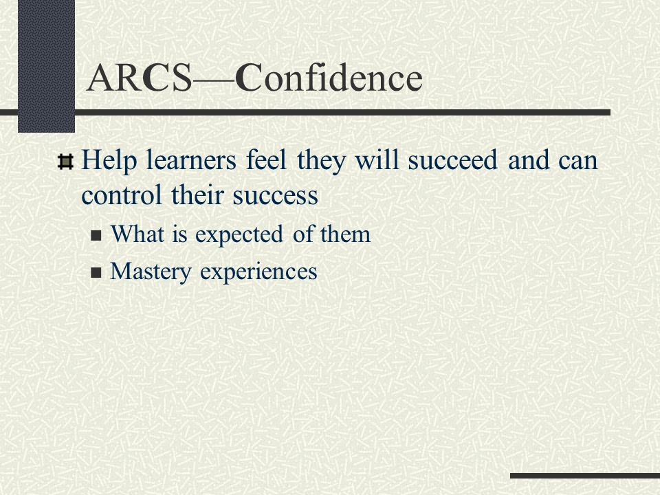 ARCS—Confidence Help learners feel they will succeed and can control their success. What is expected of them.