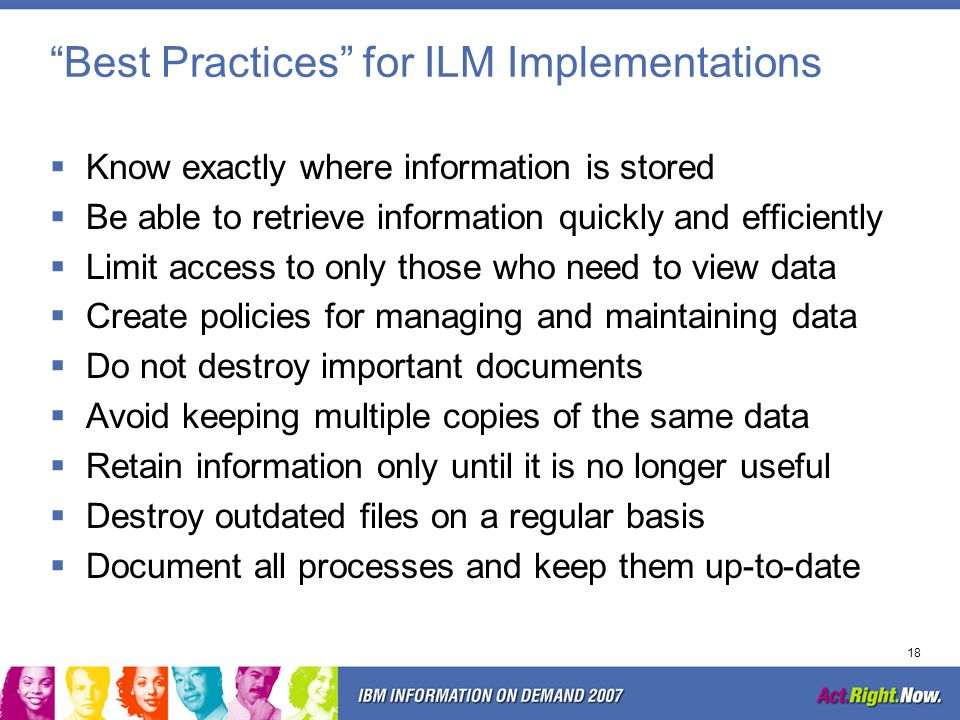 Best Practices for ILM Implementations