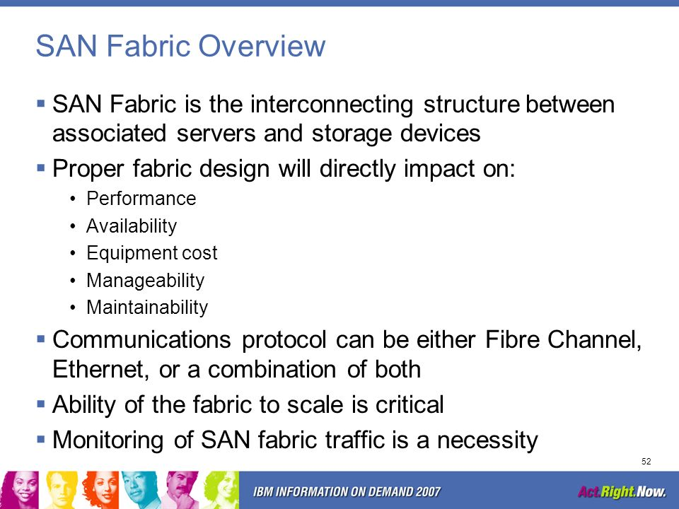 SAN Fabric Overview SAN Fabric is the interconnecting structure between associated servers and storage devices.