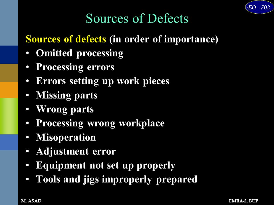 Sources of Defects Sources of defects (in order of importance)