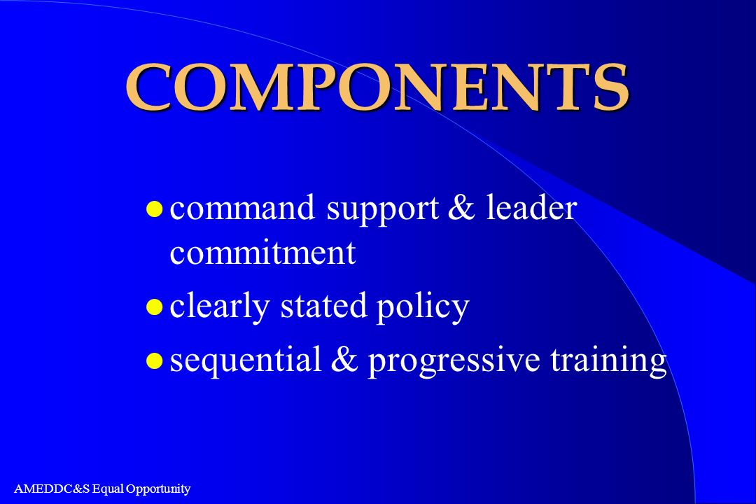 COMPONENTS command support & leader commitment clearly stated policy