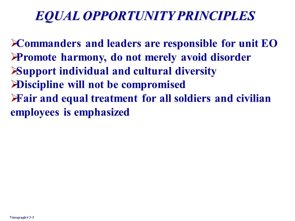 EQUAL OPPORTUNITY PRINCIPLES