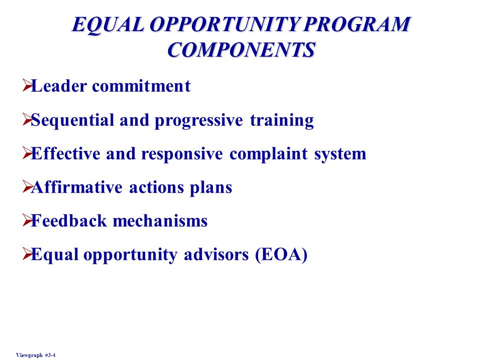 EQUAL OPPORTUNITY PROGRAM COMPONENTS