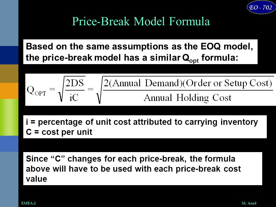 Price-Break Model Formula