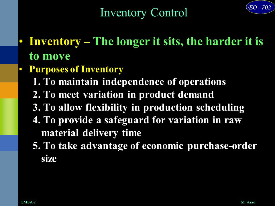 Inventory – The longer it sits, the harder it is to move