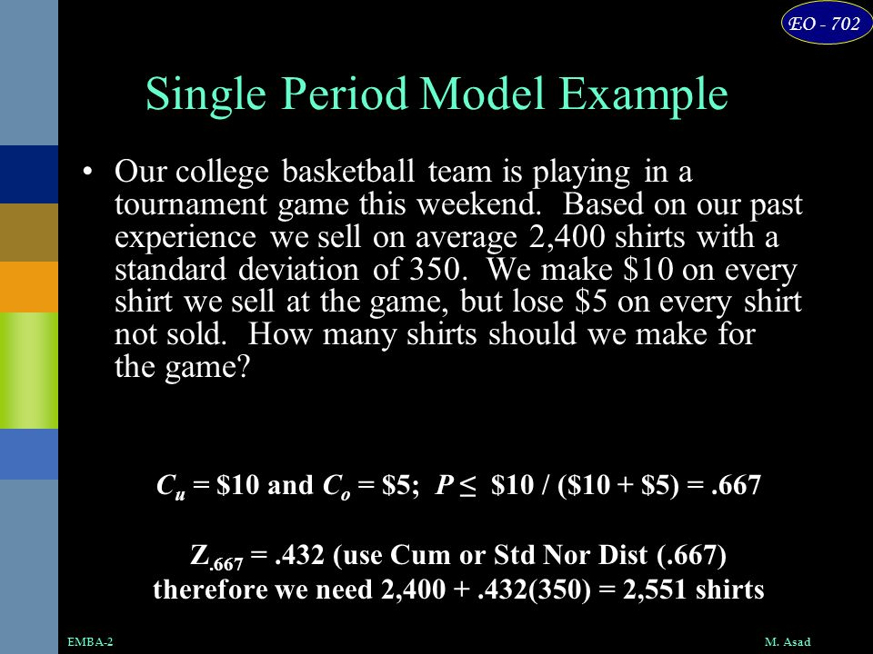 Single Period Model Example