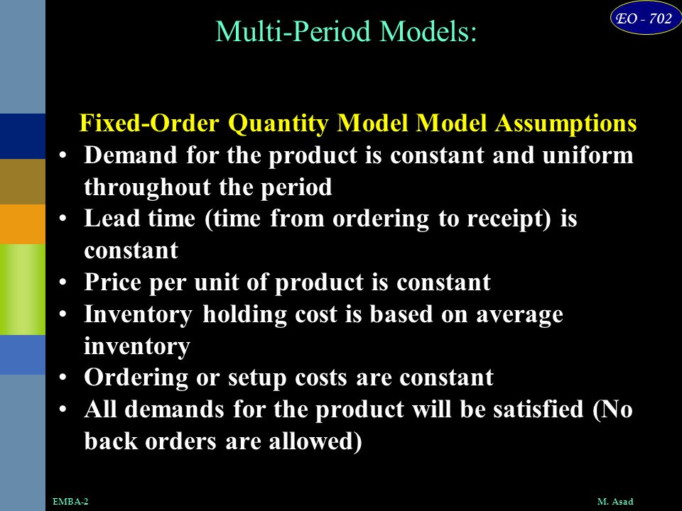 Fixed-Order Quantity Model Model Assumptions