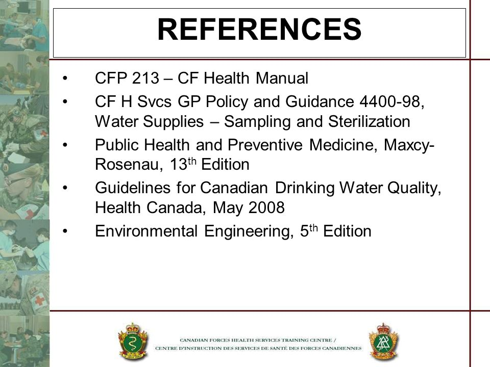 REFERENCES CFP 213 – CF Health Manual