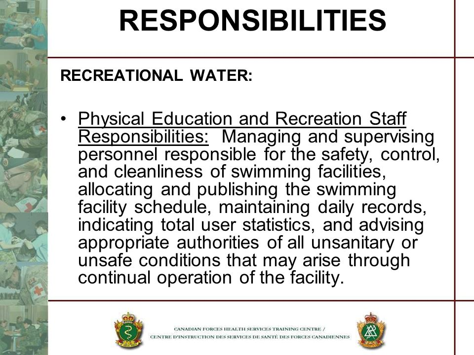 RESPONSIBILITIES RECREATIONAL WATER: