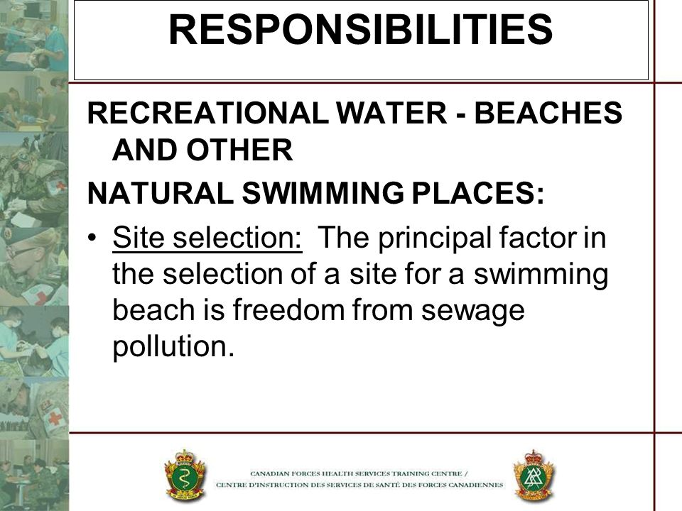 RESPONSIBILITIES RECREATIONAL WATER - BEACHES AND OTHER