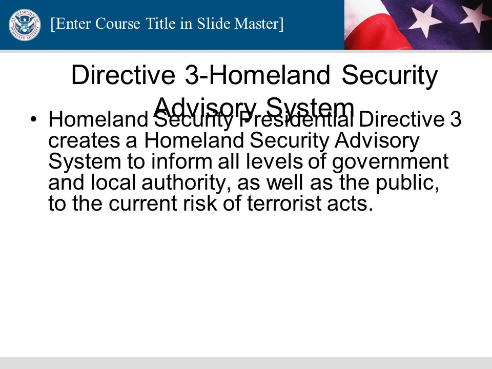 Directive 3-Homeland Security Advisory System